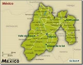 Estado de Mexico en Mapa en Color Amarillos