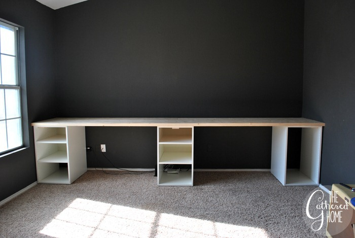 How To Make Diy Ikea Desk With Plank Top And Copper Pulls