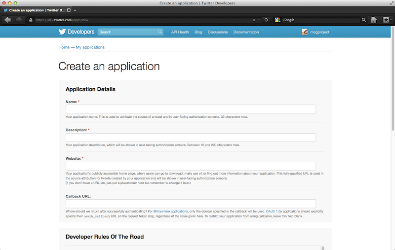 Create an application | Twitter Developers 2