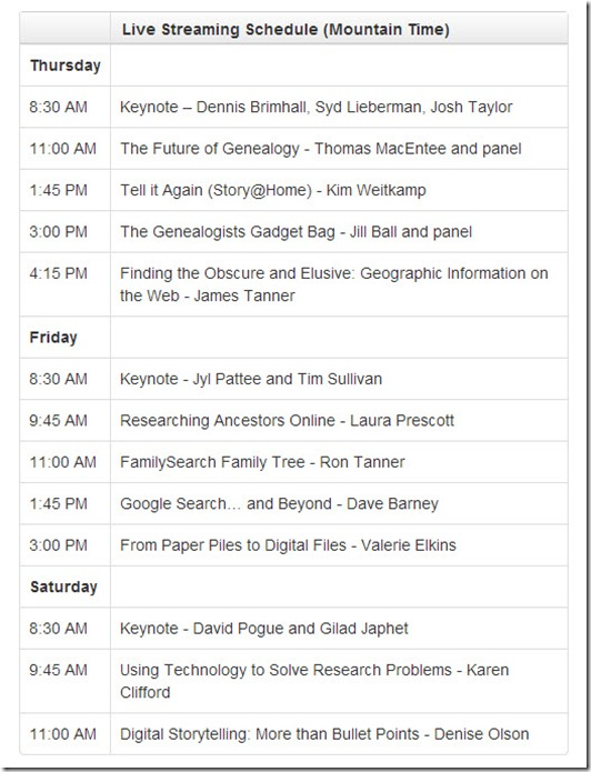 RootsTech 2013 Live Streaming Schedule