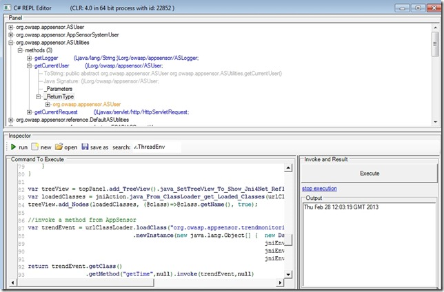 Dinis Cruz Blog: Invoking an OWASP AppSensor Java method