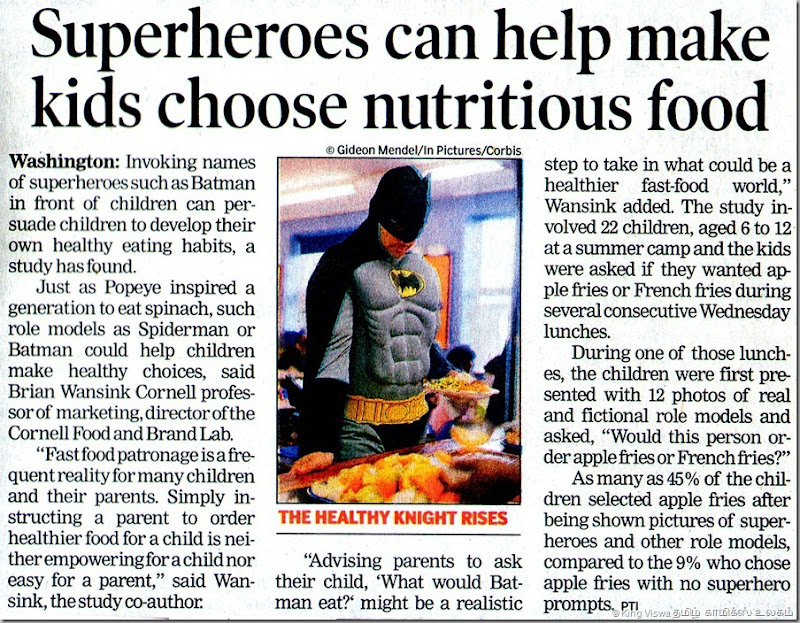 The Times Of India Chennai Edition Page 13 Dated Tuesday 24th July 2012 TheHealthy Knight Rises Article