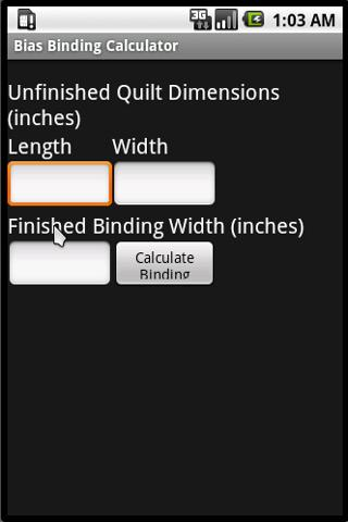 Bias Binding Calculator- screenshot