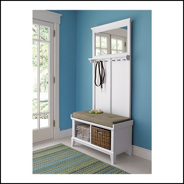 cratebarrel white small entryway benches with storage   Good Life of Design: Small Entry Solutions