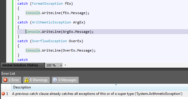 Visual Studio 2010 catch try