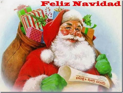 imagen de Santa Claus con saco de regalos y la frases Feliz Navidad