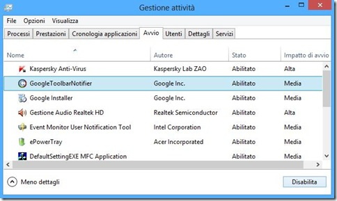 Disabilitare avvio automatico dei programmi su Windows 8