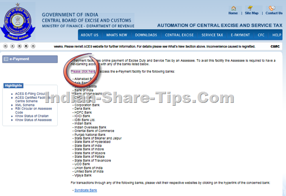 Service tax e-payment page