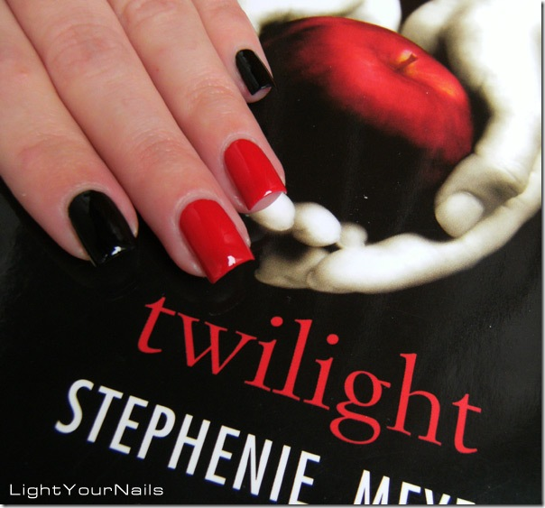 Twilight red and black mani