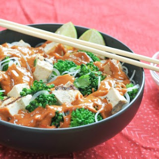 Cold Noodle Salad with Tofu, Broccoli, and Creamy Sesame Sauce