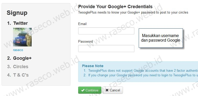 Masukkan google password