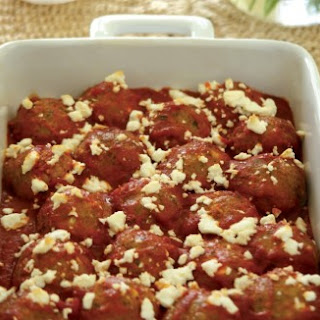 Veg Greek Meatballs in a Fragrant Tomato Sauce with Feta Cheese