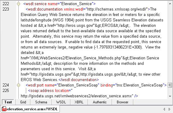 Reviewing a WSDL in XMLSpy text view