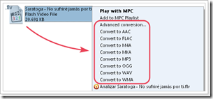Click2Music Menu Contextual