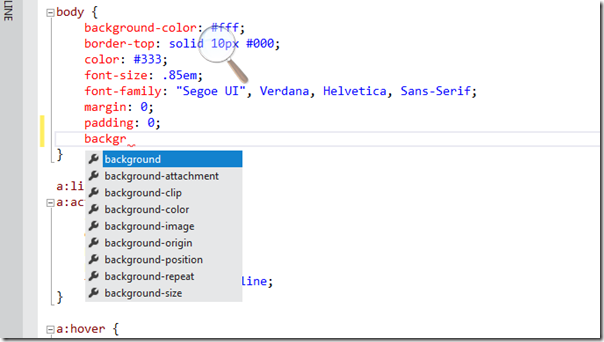 Better CSS Intellisense in Visual Studio 2011 Beta- Features of Visual Studio 2011