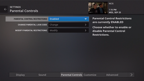 Turn on parental control in legacy Fiber TV