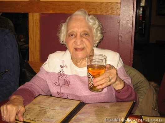 Grandma Fane on her 90th birthday with a beer in hand!