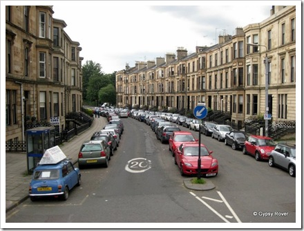 No off street parking and the road is wide enough to park up the centre.