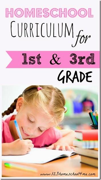 homeschool curriculum for 1st grade and 3rd grade  #homeschool