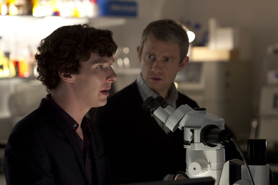BBC Sherlock Benedict Cumberbatch is Holmes and Martin Freeman is Watson