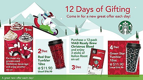 Starbucks Singapore 12 days of Christmas offers