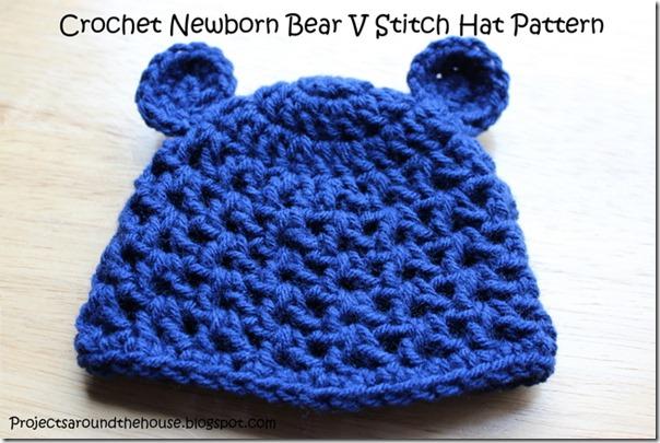 Crochet newborn bear v stitch hat free pattern