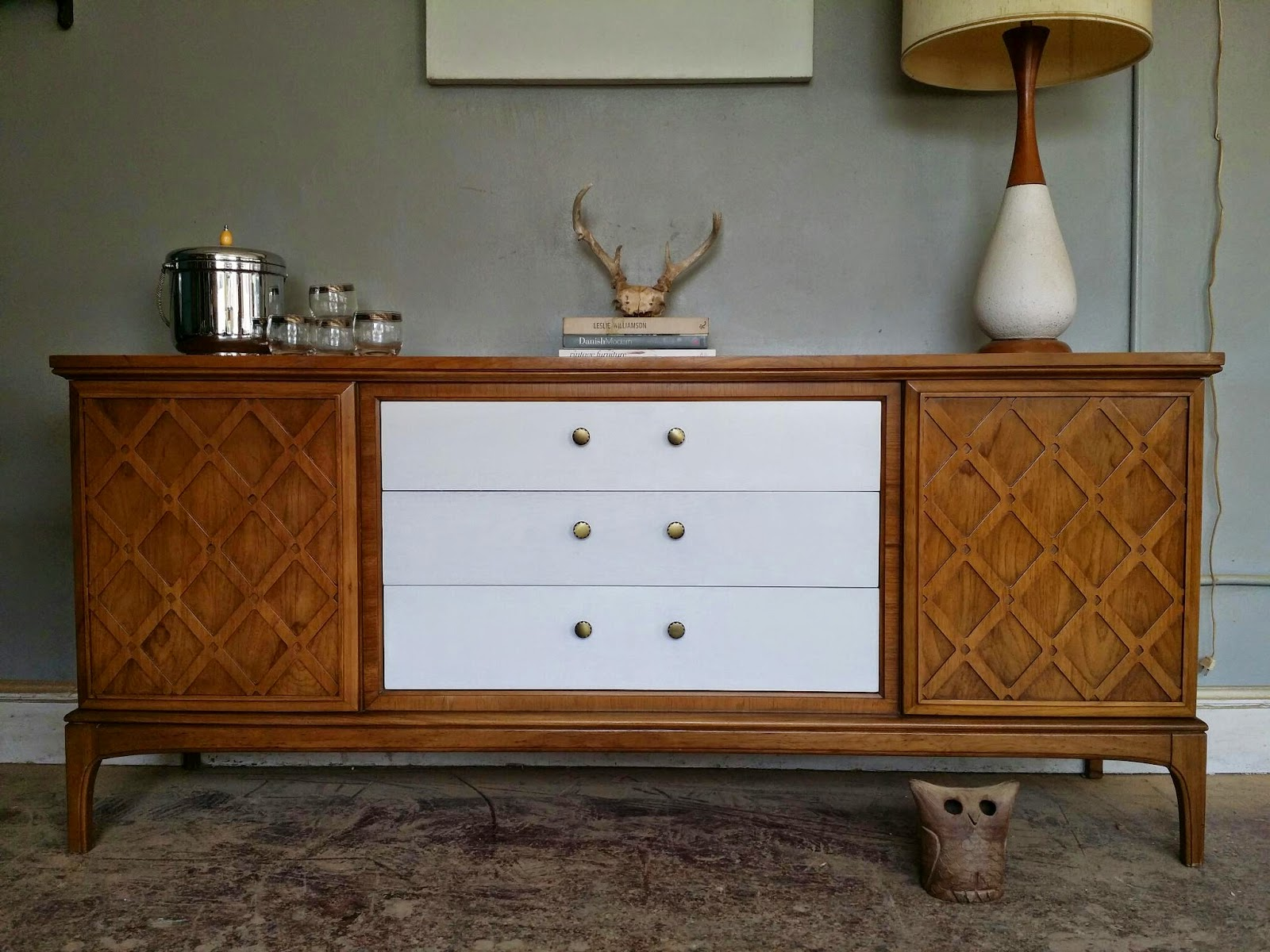 Vintage Ground Mid Century White Wood Media Center