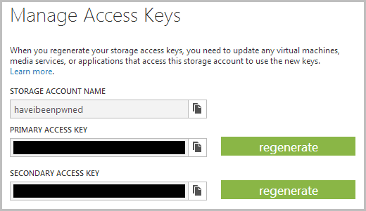 Accessing the access keys