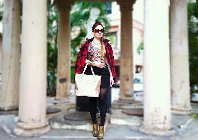 Tartan Jacket,Leopard Print Top,Skort,Micheal Kors Bag