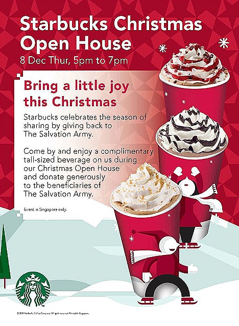 STARBUCKS CHRISTMAS OPEN HOUSE free Starbucks tall-sized beverage donations  THE SALVATION ARMY