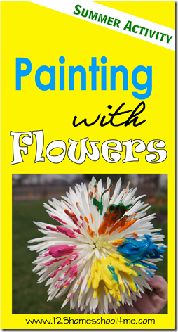 Painting with Flowers - this is such a fun kids activities perfect for adding to your summer bucket list!! This is lots of fun for toddler, preschool, prek, kindergarten, first grade, second grade, and third grade summer crafts for kids
