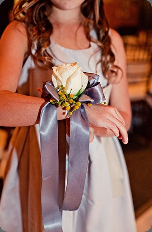 modern beach wedding pewter and yellow wrist corsage with white rose heavenly blooms