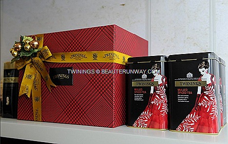 Twinings Mulled Spiced Tea designer tea tin A rich aromatic Christmas spice blended full bodied Assam tea Twinings Christmas Tea cinnamon clove and Twinings Vanilla Chai spicy chai sweet vanilla.