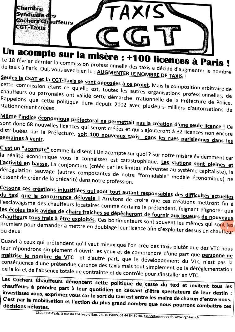 un acompte sur la mis re 100 licences paris taxis parisiens. Black Bedroom Furniture Sets. Home Design Ideas