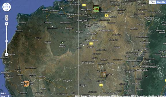 Madagascar centre : les Réserves d'Ankarafantsika (au nord) et de Tsingy du Bemaraha (à l'ouest).