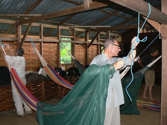 Installation des hamacs aux Carbets du Bord. Saül, 29 novembre 2011. Photo : C. Renoton