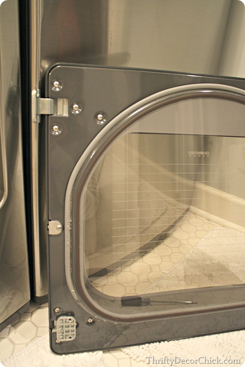 Switching direction of dryer door