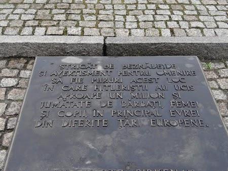 28. Placa in romaneste la Birkenau.JPG