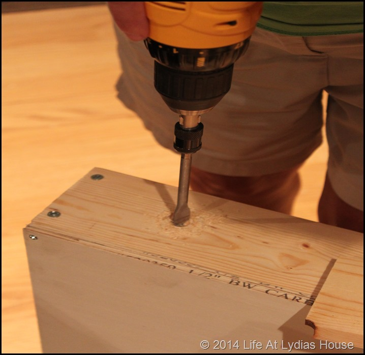 drilling a hole for the legs
