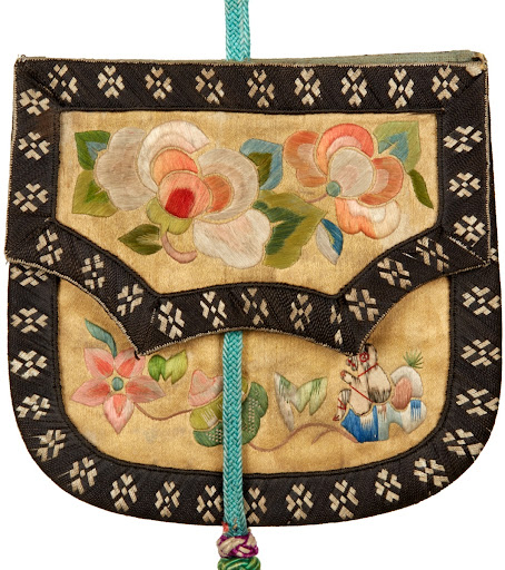 Rectangular Yellow Satin Pouch with Floral Patterns Front