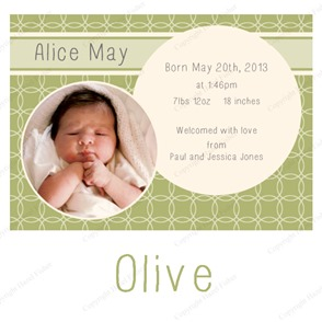 BA003 Circles printable birth photo announcement 2