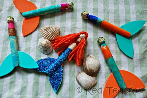 Clothespin Mermaids from Red Ted Art