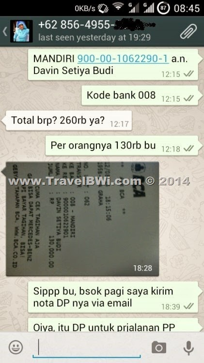 Bukti Pengiriman DP - Ditya Elfira - WhatsApp TravelBWi.com