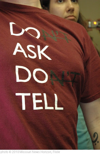 'A t-shirt sends a silent message as protesters deliver petitions demanding that Rep. Ike Skelton apologize from comments characterized as offensive to gays.' photo (c) 2010, Missouri News Horizon - license: http://creativecommons.org/licenses/by/2.0/