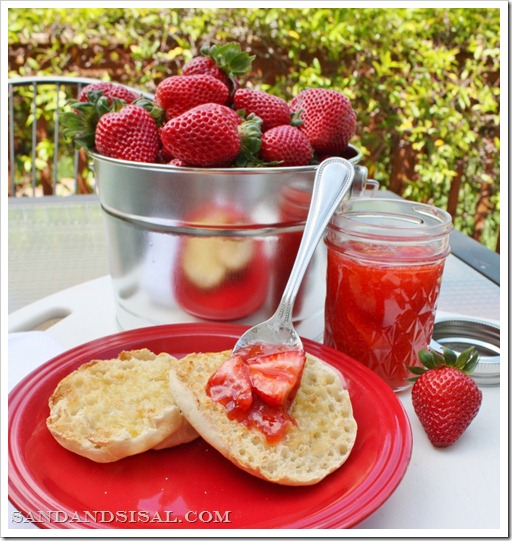 Strawberry Freezer Jam, galvanized pail of strawberries, english muffin with jam