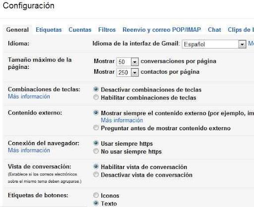 configuracion de gmail