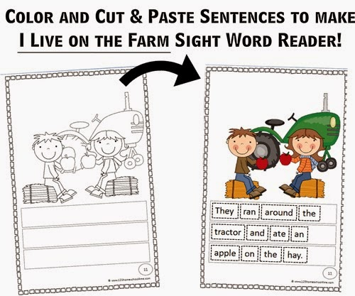 sample page from I live on a Farm Sight Word Reader - kids just cut, color and paste sentences. This is great practice for 1st and 2nd grade kids!