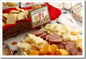 Cheese & Summer Sausage with crackers for Hungry Caterpillar Party