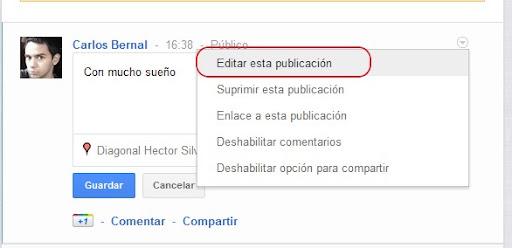 editar una publicación en Google plus