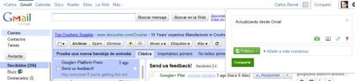 Actualizar Google+ plus desde Gmail